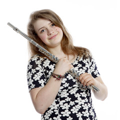 blond teenage girl with flute