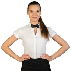 Waitress with hands on waist looking at camera