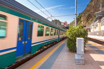 Train station at Cinque Terre National Park, Manarola in Italy.