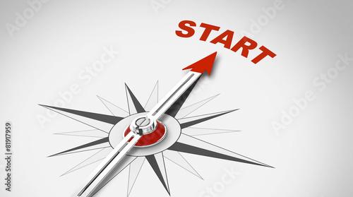 Kompassnadel zeigt auf START - 81917959