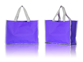 blue shopping bag on white background