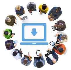 Diverse People Using Digital Devices with Download Symbol