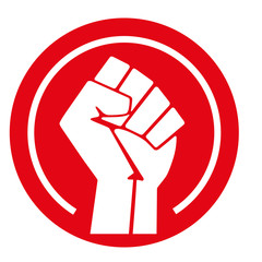 Raised fist, vector illustration
