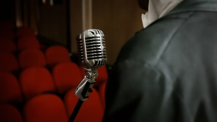 Microphone vintage theater singer