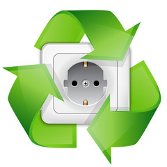 Power outlet with recycle symbol - renewable energy concept. Vec