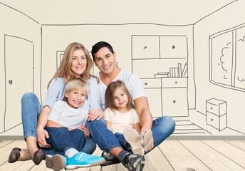 White. Beautiful family portrait looking happy - isolated over