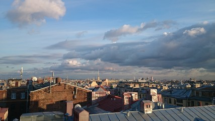Amazing view of Saint-Petersburg roofs