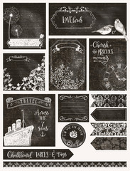 Vintage Chalkboard Labels, Frames, Banners and Cards