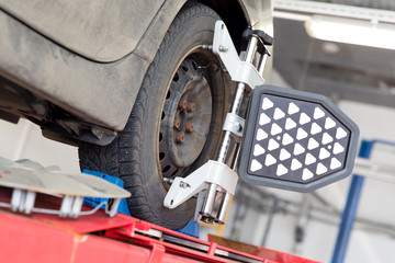 Car at Wheel and Tire Alignment Service