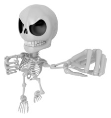 3D Skeleton Mascot is fighting gestures. 3D Skull Character Desi