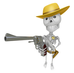 3D Skeleton Mascot cowboys is holding a revolver gun pose. 3D Sk