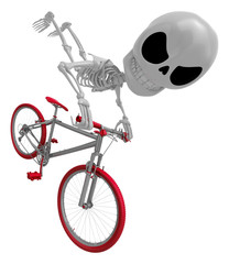 3D Skeleton Mascot is bikes do an acrobatic movement. 3D Skull C