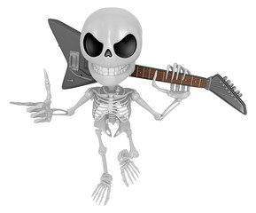 3D Skeleton Mascot is slung the guitar over his shoulders. 3D Sk