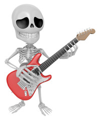 3D Skeleton Mascot has to be playing the electric guitar. 3D Sku