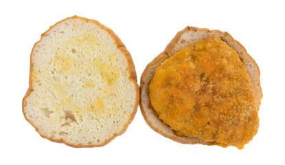 Chicken Sandwich Top View On White Background