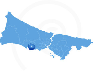 Map of Istanbul with each administrative district where Beylikdu
