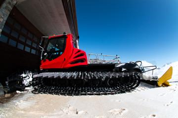 Snow preparing machine. Italian Alps.