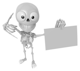 3D Skeleton Mascot the left hand call gesture and right hand is