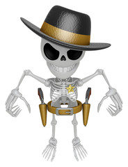 3D Skeleton Mascot is villains taking to pose a gunfight. 3D Sku