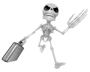 3D Skeleton Mascot is gone to work and holding a briefcase. 3D S