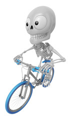 3D Skeleton Mascot is Riding a bicycle. 3D Skull Character Desig