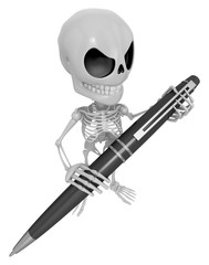 3D Skeleton Mascot is holding a big ballpoint pen with both hand