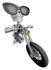 3D Skeleton Mascot is motorbikes driving. 3D Skull Character Des