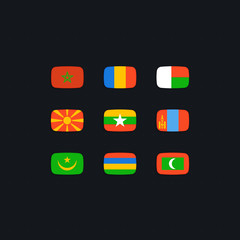 Flag of world. Vector icons