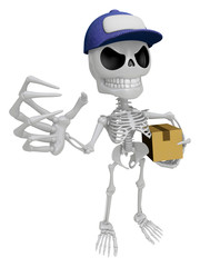 3D Skeleton Mascot is having a fit of anger, holding delivery bo