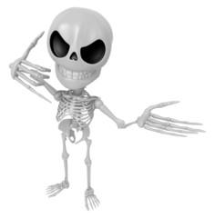3D Skeleton Mascot is telephone hand gestures. 3D Skull Characte