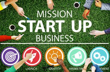 Mission Start Up Business Launch Team Success Concept