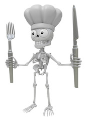 3D Skeleton Mascot hand is holding a Fork and Knife. 3D Skull Ch