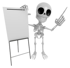 3D Skeleton Mascot is presentation in front of the a briefing ch