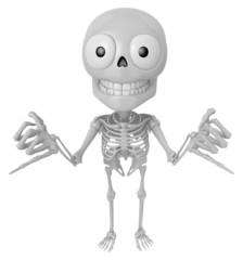 3D Skeleton Mascot is Taking a gesture that promises. 3D Skull C