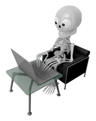 3D Skeleton Mascot Sitting on the couch working on a laptop. 3D