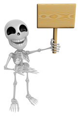 3D Skeleton Mascot the right hand guides and the left hands are