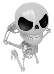 3D Skeleton Mascot is caught red-handed. 3D Skull Character Desi