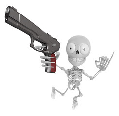 3D Skeleton Mascot is cowboys taking to pose a gunfight. 3D Skul