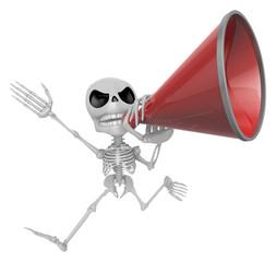3D Skeleton Mascot is speakn through a megaphone. 3D Skull Chara