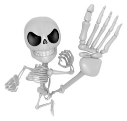 3D Skeleton Mascot to be powerful Fly kick. 3D Skull Character D