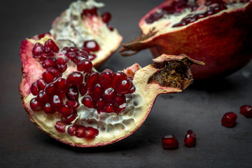 Pomegranates Organic Fruit  Black Background