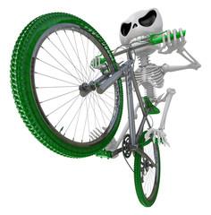 3D Skeleton Mascot is Going on a bike trip. 3D Skull Character D