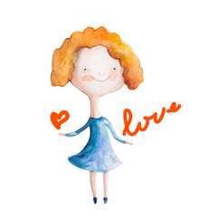 Girl  in blue dress with heart. Vector