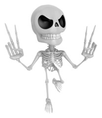 3D Skeleton Mascot is taking a gesture of victory. 3D Skull Char