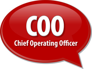 COO acronym word speech bubble illustration