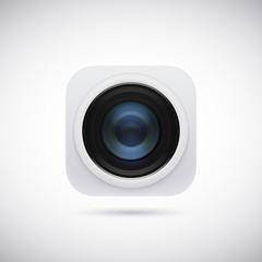 3d lens photo camera app icon. Vector illustration