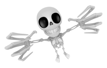 3D Skeleton Mascot is scaring the daylight out of somebody. 3D S