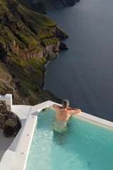 Santorini crater view from the pool