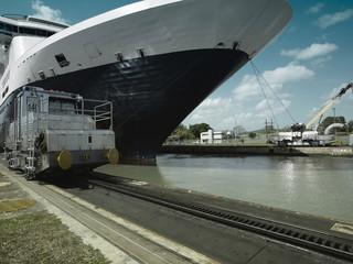 Cruise ship entering Pedro Miguel Locks, Panama Canal