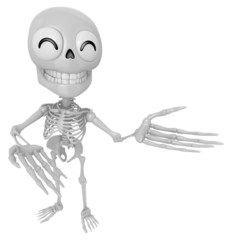 3D Skeleton Mascot Suggests the direction with both hands. 3D Sk